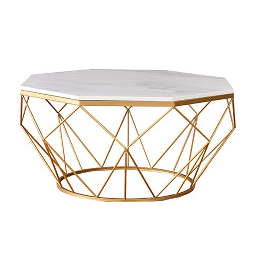Faux Marble Coffee Table, Cocktail Table, Mid-Century Modern Accent Table Storage for Living Room, Reception, Easy Assembly, White/Gold