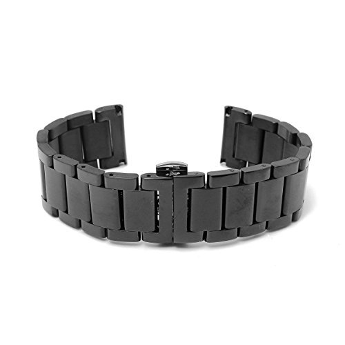 BABAN 24mm Stainless Steel Wrist Watch Band Strap Double Clasp Bracelet Black