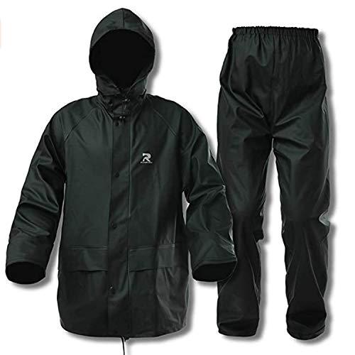 Rain Suits for Men Women Waterproof Heavy Duty Workwear 3 Pieces Rain Coat Jacket and Pants(Dark Green, Medium)