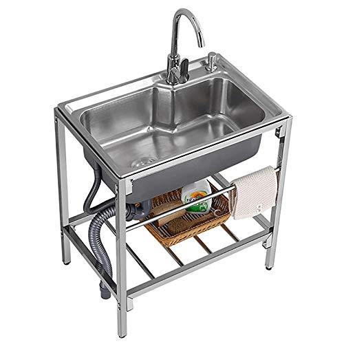 Kitchen Sink. Fregadero de un Solo tazón de Acero Inoxidable Comercial, Fregadero de Cocina para Restaurante, Fregadero Profesional con Rejilla y Grifo