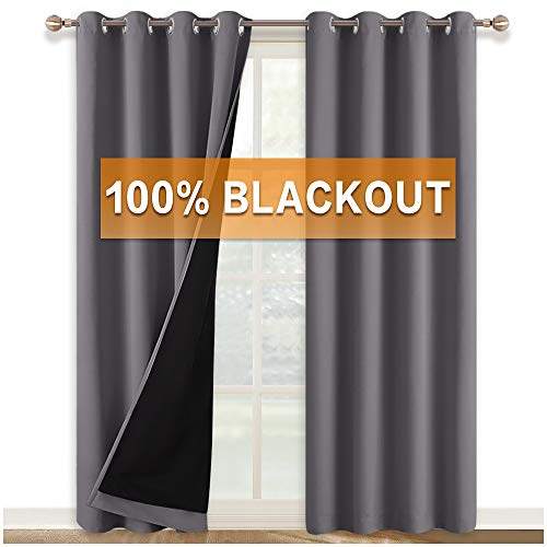 RYB HOME Thermal Insulated 100% Blackout Curtains Full Light Block Window Drapes Grommet Full Room Darkening Liner for Bedroom Kids Nursery Room Divider Curtains, 52 x 95 inch Long, Grey, 2 Pcs