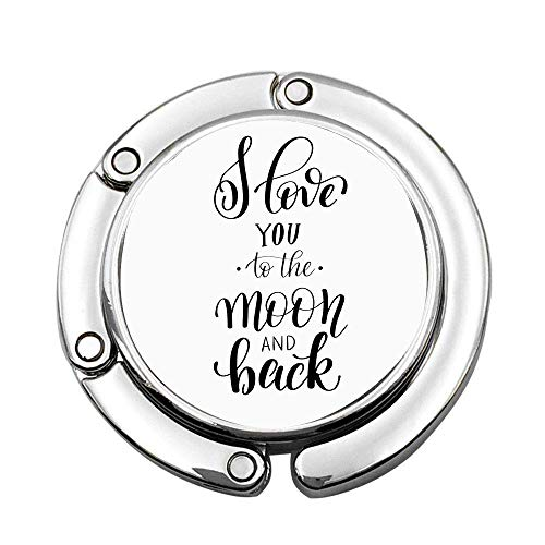 Minimalista estilizado I Love You to The Moon and Back Valentines Togetherness Custom Purse Hook Plegable