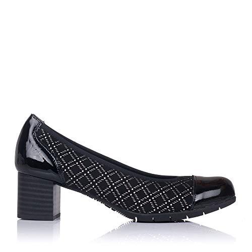 PITILLOS 6340 Zapato Salon Combi Tacon Medio Mujer Negro 39