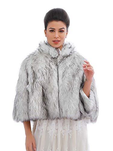 Ushiny, coprispalle da sposa in ecopelliccia, adatto per l'inverno, ideale per donne e ragazze Nero e bianco Taglia unica