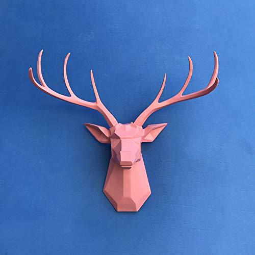 HLONGG Decoration Figure Deer Head,Stag Deer Head Sculpture Wall Decor Rustic Wall Mounted Reindeer Deer Stag head with antlers