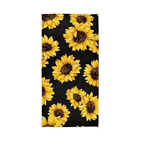 senya Badetuch Libelle Aquarell weiche Handtücher für Badezimmer, Spa, Fitnessstudio, Sport, 76,2 x 38,1 cm, lustig (schwarze Sonnenblume)