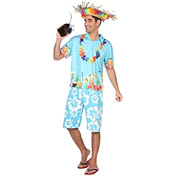 Atosa-38610 Disfraz Hawaiano, Color Celeste, XL (38610): Amazon.es ...