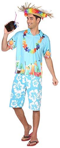 Atosa-38610 Disfraz Hawaiano, Color Celeste, XL (38610)