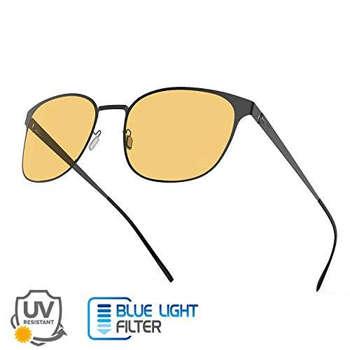 Avoalre Gafas Anti Luz Azul Hombre/Mujer Gafas Vision Nocturna Gafas para Ordenador Gaming PC Oficina Video Juegos Tele DVD Gafas de Sol Unisexo - Negro
