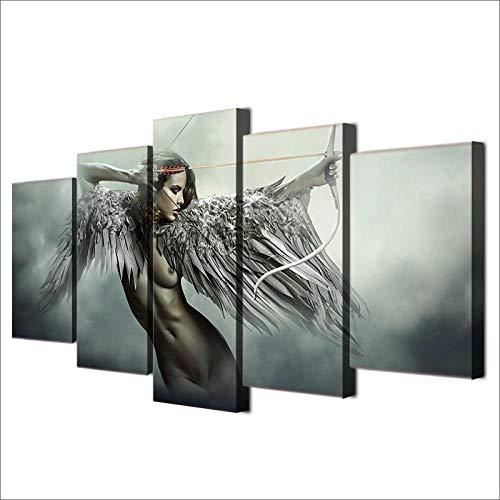 ARXYD canvas Hd-print muurkunst afbeelding 5-delige set engel oorbellen vleugels schilderij decoratie Anime Meisjes Poster 200x100cm - Kunstwerk Afbeeldingen voor thuis kantoor Moderne decoratie