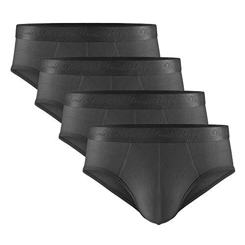 DAVID ARCHY Men's Underwear Micro Modal Ultra Soft Comfy Briefs 4 Pack (L, Dark Gray)