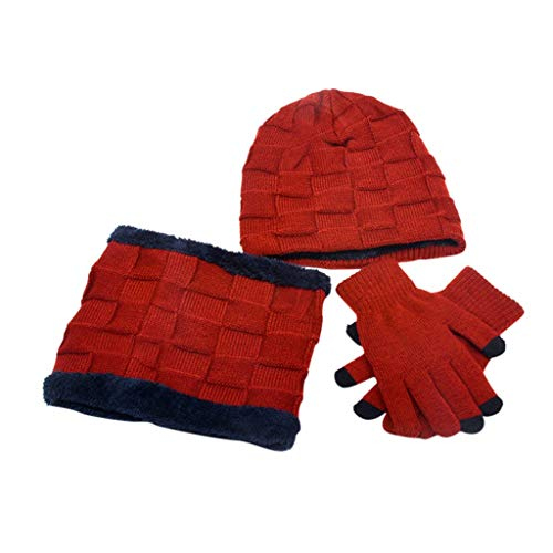 SHINEHUA kinderen 3 stuks Ski Warm Set Winter muts sjaal Warme handschoenen 2 in 1 warme muts gebreide muts wintersjaal met fleece voering