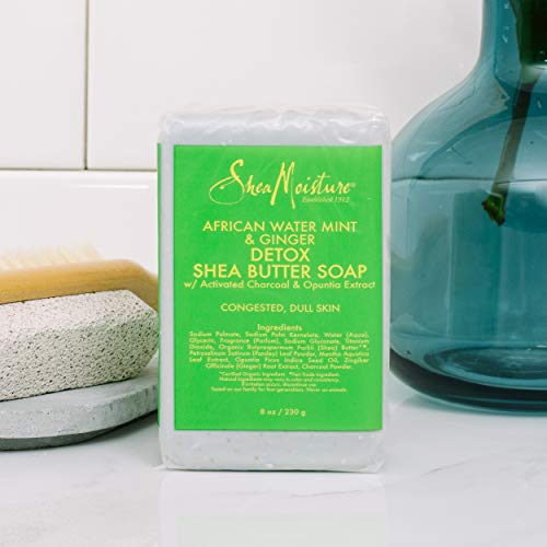 SheaMoisture Detox Shea Butter Bath Soap for Sensitive Skin African Water Mint 8 oz