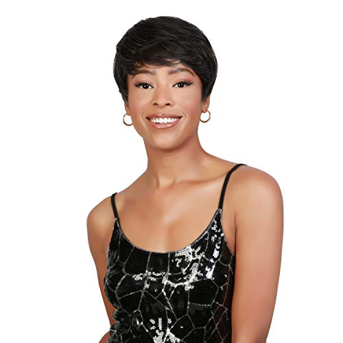 Instant Fab Short Human Hair Wigs Pixie Cut Wigs for Black Women Short Pixie Hairstyles Layered Wavy Tapered Back Non Lace Front Wigs - TOPAZ (NATURAL)