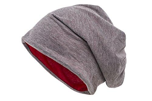 Shenky - Bonnet de Printemps/d'été - Fin et réversible - Jersey - Unisexe - Bicolore (Gris/Rouge)
