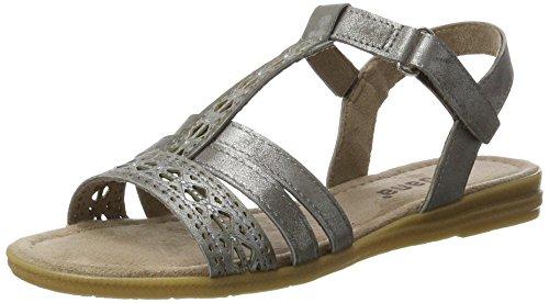 Jana Damen 28114 Offene Sandalen mit Keilabsatz, Silber (Pewter 915), 38 EU