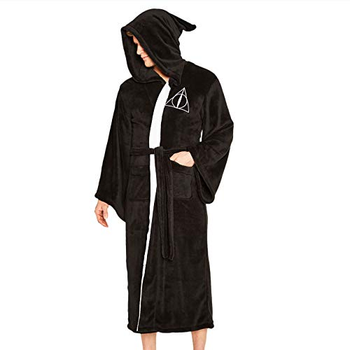 Groovy Deathly-Hallows-Bathrobe Albornoz con Capucha de Harry Potter, poliéster, Negro, Talla única