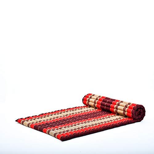 Leewadee Grand Matelas thaï - Tapis de Yoga Enroulable en Taille L en kapok, Tapis pour méditation et Yoga en kapok, 200 x 105 cm, Rouge