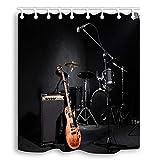 AFDSJJDK Duschvorhang Musical Instruments Drum Guitar in Black Water Stoff Duschvorhang