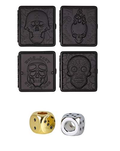 4 x Zigarettenetui Leder Schwarz Totenkopf Motive für 20 Normale Zigaretten (85mm) mit Bügel + 2 Glut Killer Chrom Würfel