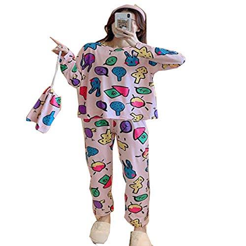 Otoño Invierno Casual Print Conjuntos de Pijamas para Mujer Dormir Cuello Redondo Manga Larga Top Pantalón Largo Conjunto de Pijamas Ropa de Dormir Conjuntos de Pijamas