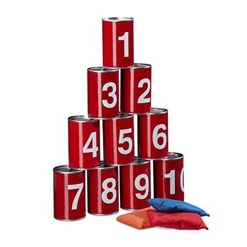 Relaxdays Dosenwerfen Set, Ballwurfspiel für Kinder, 10 Dosen, 3 Wurfkissen, Outdoor Büchsenwerfen Kindergeburtstag, rot