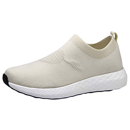 Gaowen Women Ultra Light Breathable Sneakers Non-Slip Wear-Resistant Elastic Flat Casual Loafer Shoes (Beige, 8)
