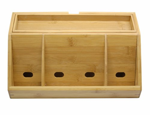 Lipper International 812 Bamboo Wood Charging Station for Cell Phones, iPads, Tablets