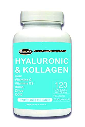 Suplemento Colágeno + Ácido hialurónico | Enriquecida con Vitamina C, B2, Zinc, Cobre es Yodo | Colágeno hidrolizado Para Mantenimiento de Articulaciones, Huesos y piel | 120 cápsulas