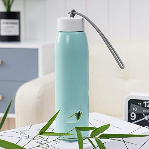 Heiße doppelte Farbe Art und Weise Geschenk Werbe-Cup Nachahmung Rattan Glasschale tragbare Wärmegefälle, Farbe: rosa, Kapazität: 501-600ml (Color : Blue)