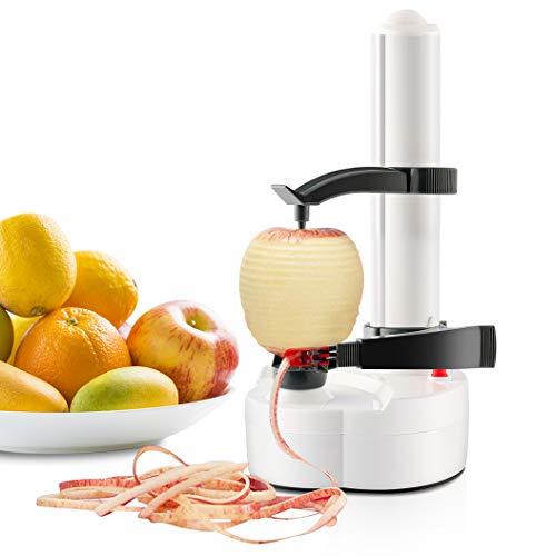 TOPCHANCES Pelapatate Elettrico Multifunzione Automatico Rotante per Frutta in Acciaio Inossidabile Taglierina per Verdure Utensile per la Sbucciatura della Cucina per Frutta e Verdura (Bianca)