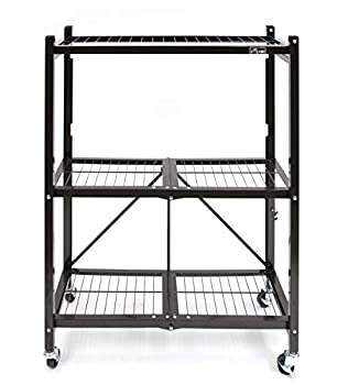 Origami 3-Shelf General Purpose Collapsible/Foldable Shelving Unit Small Rack with Wheels   Organizer Rolling Cart Home Kitchen Laundry Closet Storage Metal Wire Pre-Assembled   Black