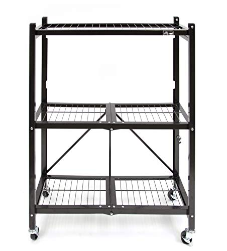 Origami 3-Shelf General Purpose Collapsible/Foldable Shelving Unit, Small Rack with Wheels | Organizer, Rolling Cart, Home Kitchen Laundry Closet Storage, Metal Wire, Pre-Assembled | Black