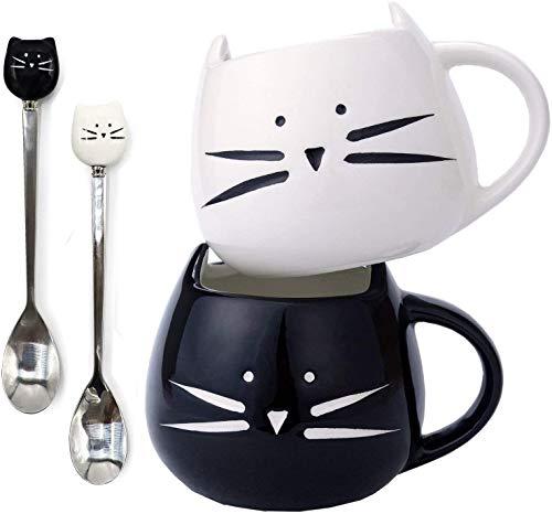 Keramik-Kaffeetassen mit Katzen-Motiv, niedlicher Katzenkaffeetassen und Katzenlöffel, für Frauen, Frau, Mutter, Mädchen, Lehrer, Freunde, Geburtstag, Muttertag, Valentinstag (schwarz und weiß)