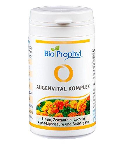 BioProphyl® Augenvital Komplex mit natürlichen Augenvitalstoffen wie Beta Carotin, Lycopin, Zeaxanthin und Lutein ergänzt mit Zink und Selen - 60 pflanzliche Kapseln als Monatsration