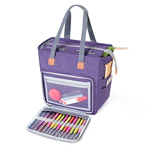 Luxja Small Knitting Tote Bag, Yarn Storage Bag for Carrying Projects, Knitting Needles, Crochet Hooks and Other Accessories, Purple