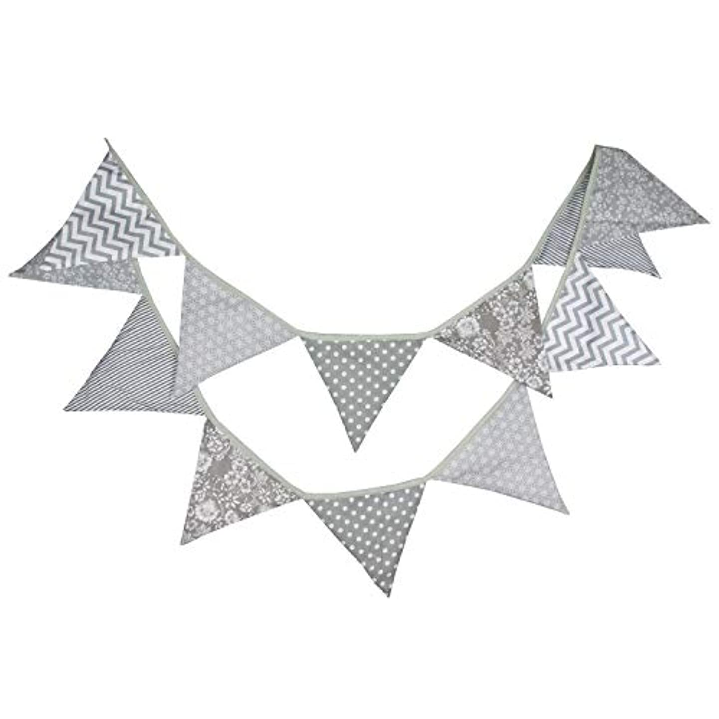INFEI 3.2M/10.5Ft Black & Gray Halloween Fabric Triangle Flags Bunting Banner Garlands for Wedding, Birthday Party, Outdoor & Home Decoration (Grey)