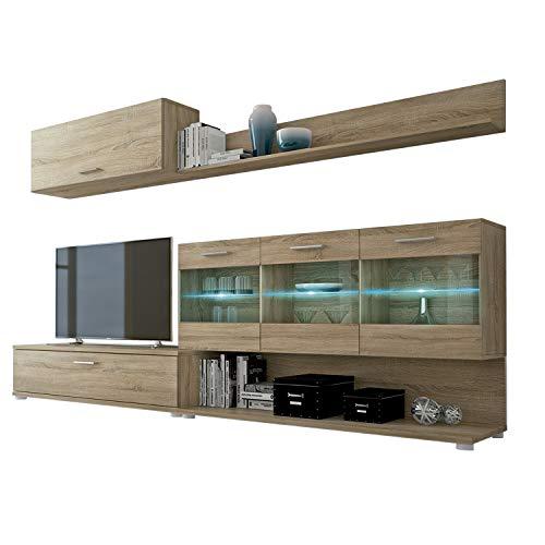 Mueble de Comedor, modulo Salon Vitrina con Led, Modelo Zafiro, Acabado Color Cambria, Medidas: 250 cm (Ancho) x 39,6 cm (Fondo)
