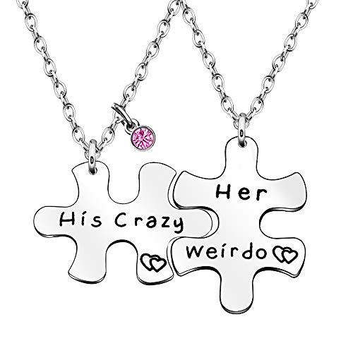 His Crazy Her Weirdo Paar-Liebhaber Liebe Halsketten Jahrestag Geschenk für Ehemann, Ehefrau, Freund, Freundin, Ihn