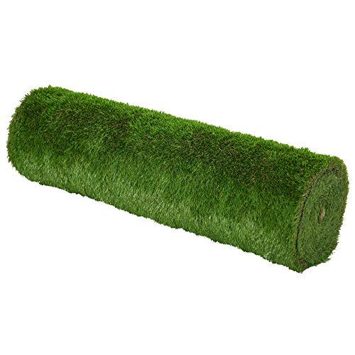 Outsunny Tappeto Erboso Sintetico 4x1m Erba 40mm, Finto Prato Verde Anti-UV Atossico e Drenante per Giardino e Cortile