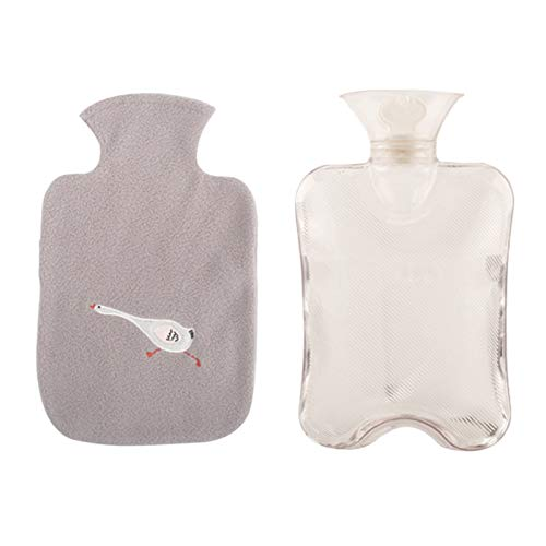 Hot water bottle LIU- Transparent with Gray Soft Cover 2L for Hot Compress to Warm Hands and Feet to Relieve Body Soreness, Winter Gift