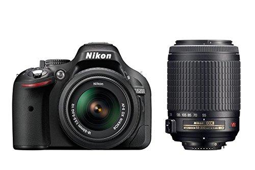 """Nikon D5200 - Cámara réflex digital de 24.1 Mp (pantalla 3"""", estabilizador, vídeo Full HD), color negro - kit con objetivos AF-S DX 18-55 mm VR y 55-200 mm"""