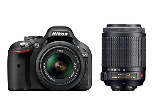 Nikon D5200 - Cámara réflex digital de 24.1 Mp (pantalla 3', estabilizador, vídeo Full HD), color negro - kit con objetivos AF-S DX 18-55 mm VR y 55-200 mm