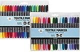 40 Textilmalstifte Textilmarker T-Shirt-Marker mit Doppelspitze Textilstifte Standardfarben