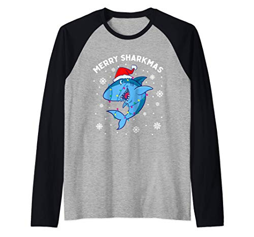 Merry Sharkmas Santa Christmas Sharks Lover Gift Kids Boys Raglan Baseball Tee