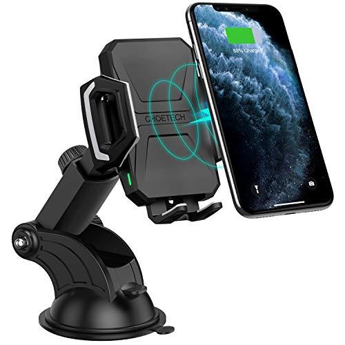 CHOETECH Cargador Inalámbrico Coche, Wireless Car Charger Soporte Carga Rápida 7.5W para iPhone 11 Pro/11/Xs MAX/XR/SE 2//X/ 8/8 Plus, 10W Samsung S20/S20+/S10/S9/S8/Note 9, 5W Teléfonos Qi-Enabled