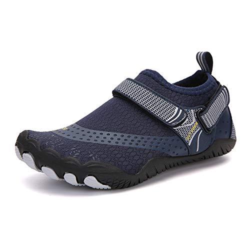 Qimaoo buty do wody, męskie i damskie buty do kąpieli, buty do pływania, szybkoschnące, oddychające, antypoślizgowe buty do wody, - Niebieskie zapięcie na rzepy. - 45 EU
