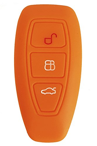 CK+ Ford Auto-Schlüssel keyless Hülle Key Cover Case Etui Silikon für Focus Kuga Mondeo Galaxy - Orange