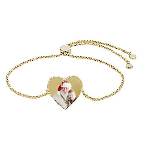 Pulsera personalizada en forma de corazón Pulsera con foto personalizada Versión Pulsera con texto grabado Pulsera de moda(Oro rosa a todo color 5.5IN=14cm)