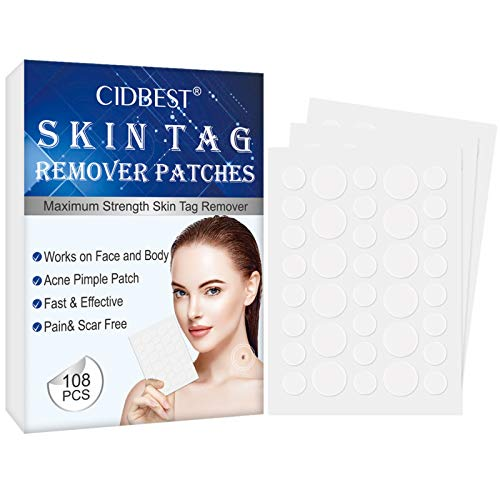 Skin Tag Remover Patches, Acne Pimple Patch, Maximum Strength Skin Tag ? Acne Remover, Tags Dries and Fall Away, 108 PCS